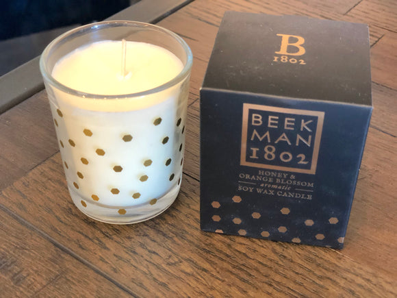 Beekman Honey & Orange Blossom Soy Wax Candle in Glass Jar