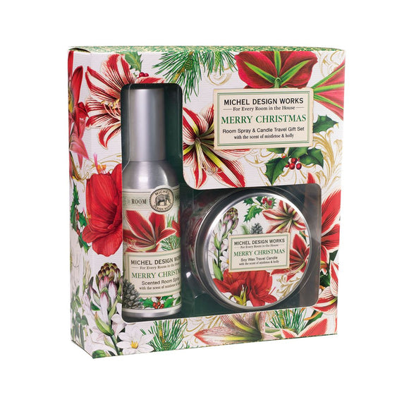 Merry Christmas Room Spray and Travel Candle Gift Set