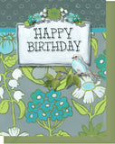 Happy Birthday Card - Blank Inside - Turquoise & Olive Flowers & Bird