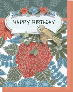 Happy Birthday Card - Blank Inside - Orange & Blue Flowers & Bird
