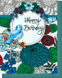 Happy Birthday Card - Blank Inside - Red & Turquoise Flowers & Bird
