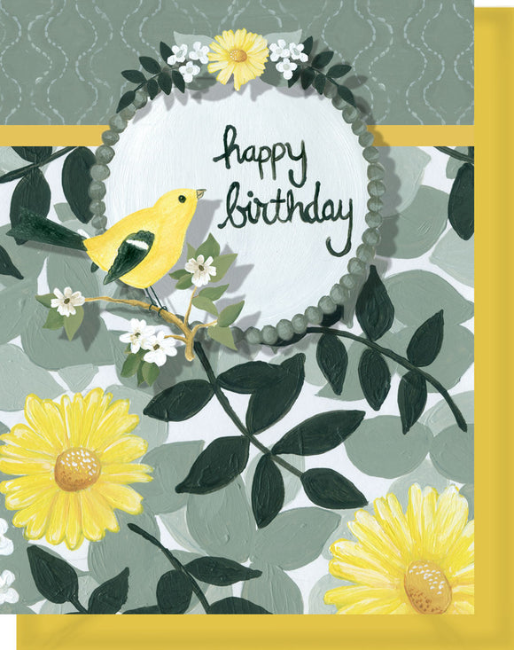 Happy Birthday Card - Blank Inside - Yellow & Black Flowers & Bird