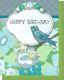 Happy Birthday Card - Blank Inside - Blue & Green Flowers & Bird