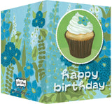 Happy Birthday Card - Blank Inside - Blue & Green Flowers & Cupcake
