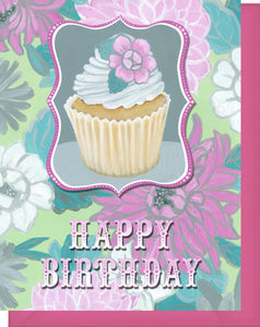 Happy Birthday Card - Blank Inside - Pink & Grey Flowers & Cupcake