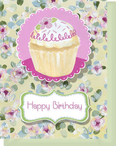 Happy Birthday Card - Blank Inside - Pink & Yellow Flowers & Cupcake