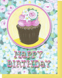 Happy Birthday Card - Blank Inside - Pink & White Flowers & Cupcake