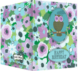 Happy Birthday Card - Blank Inside - Purple & Turquoise Flowers & Owl