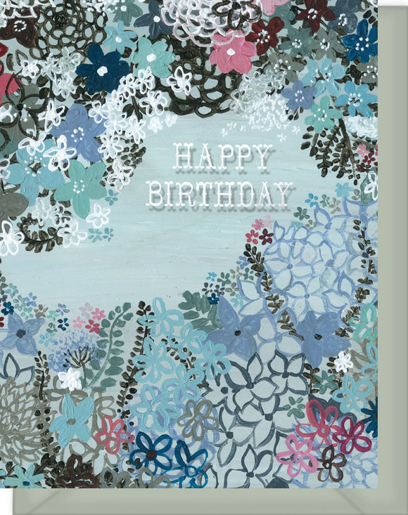 Happy Birthday Card - Blank Inside - Flower Clusters in Black, Blue, Green & Pink