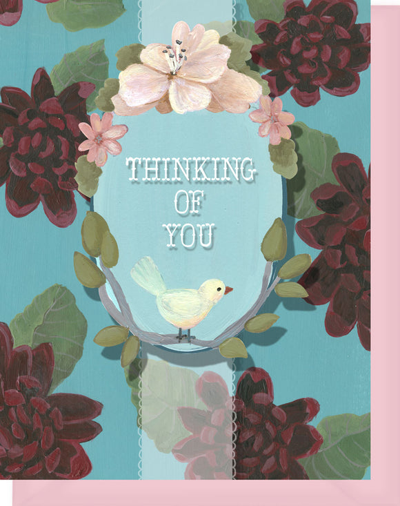 Thinking of You - Blank Inside - Red & Turquoise Flowers & Bird