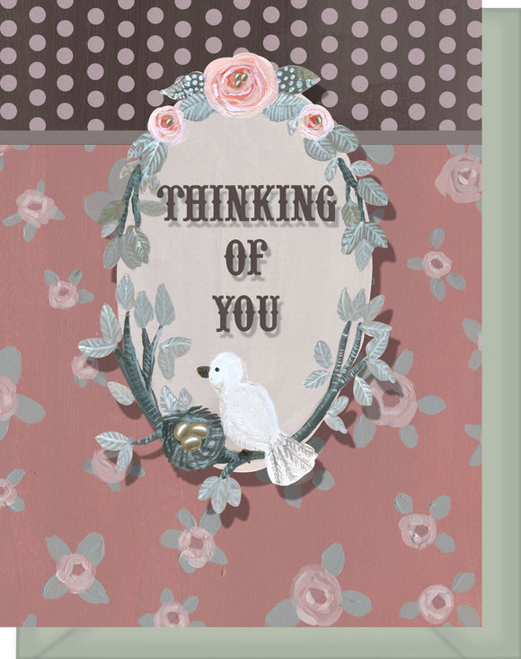 Thinking of You - Blank Inside - Pink & Brown Flowers & Bird