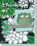 Thinking of You - Blank Inside - Green & White Flowers & Owl