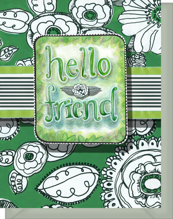 Hello Friend Card - Blank Inside - Green & White Flowers