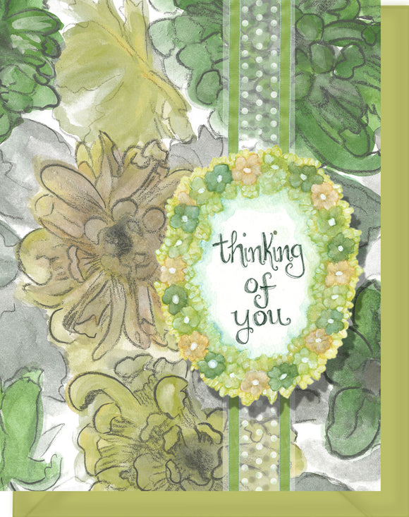 Thinking of You - Blank Inside - Green & Yellow Flowers