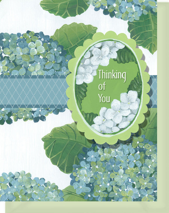 Thinking of You - Blank Inside - Blue & Green Hydrangeas