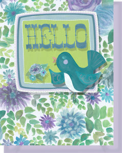 Hello Friend Card - Blank Inside - Purple & Turquoise Flower with Bird