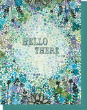 Hello There - Blank Inside - Blue & Gray Floral Card