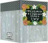 Thank You - Blank Inside - Wood with Orange & Cream Flowers
