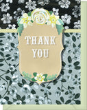 Thank You - Blank Inside - Black & White Flowers with Yellow Frame