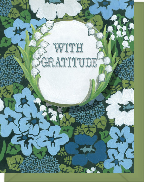 With Gratitude - Blank Inside - Thank you Blue Flowers and Lily of the Valley