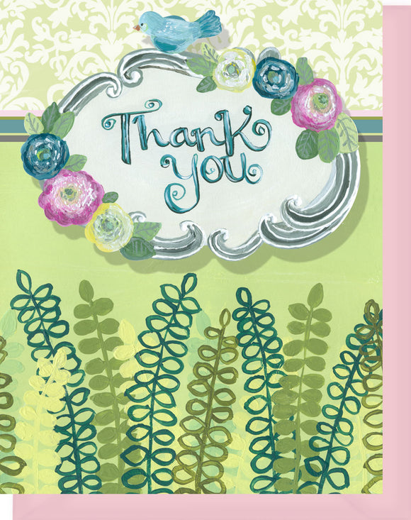 Thank you - Blank Inside - Pink, Lime, Turquoise Flowers & Ferns