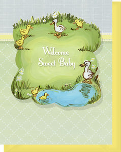 Welcome Sweet Baby - Blank Inside - Ducks by a Little Pond