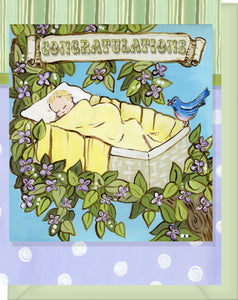 Welcome Baby Congratulations - Blank Inside - Rock-a-bye Baby in Tree with Bird