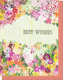 Best Wishes - Blank Inside - Wedding, Congratulations etc - Pink & Orange Flowers