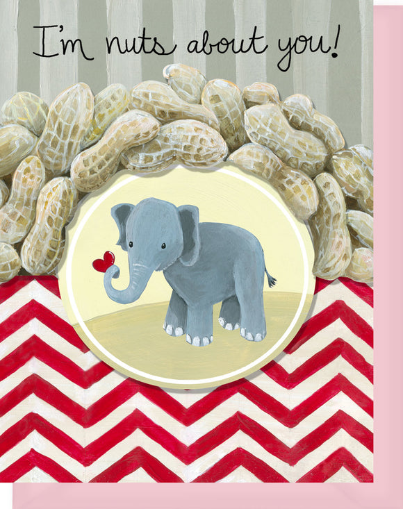 Nuts About You - Blank Inside - Elephant with Heart & Peanuts