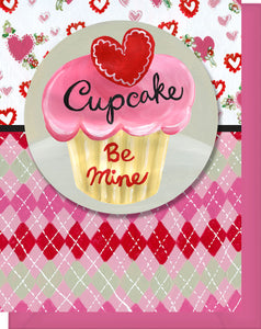 Be Mine Cupcake - Blank Inside - Hearts, Flowers, Argyle and a Valentine Cupcake
