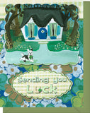 Sending You Luck - Blank Inside - House, Dog & Four Leaf Clovers