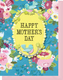 Happy Mother's Day - Blank Inside - Blue, Pink Flowers with Birds