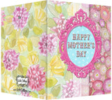 Mother's Day Card - Blank Inside - Pink Frame with Pink Dhalias & Ranunculus
