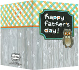 Happy Father's Day Card - Blank Inside - Orange & Blue, Wood & Owl