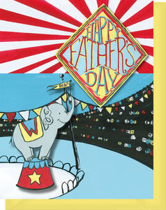 Happy Father's Day Card - Elephant Circus - Blank Inside