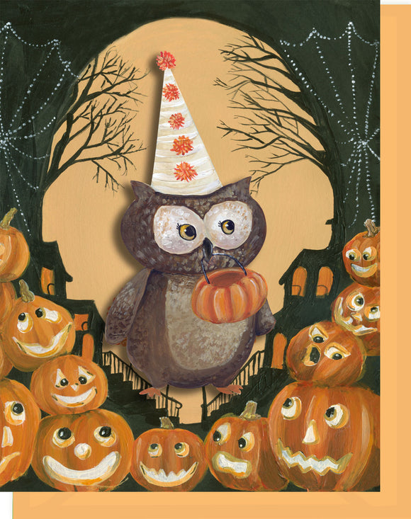 Halloween Trick or Treat Owl Greeting Card -
