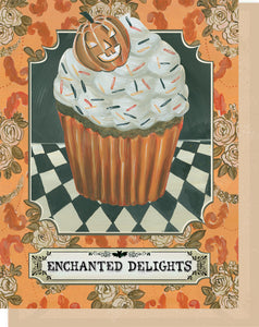 "Halloween Greeting Card - Enchanted Delights Cupcake - ""Have a Happy Halloween"" Inside"
