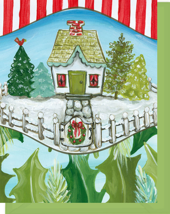 Christmas Cottage - Happy Holidays Greeting Card