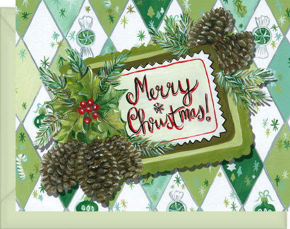 Vintage Christmas Card with Pinecones - Good Tidings & Cheer