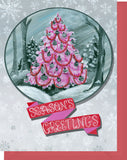 Pink Christmas Tree with Red & Gray - Warm Holiday Wishes