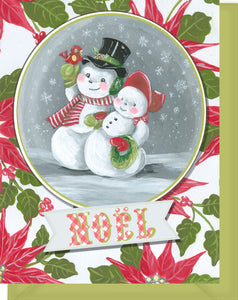 Noel Snowman & Snowlady with Poinsettias - Season's Greetings...
