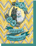 Happy Anniversary Greeting Cards - Scottie & Westie Dogs