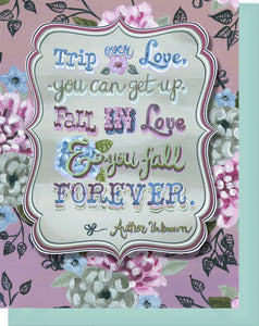"Love, Wedding Blank Inside Greeting Card - ""Trip Over Love..."""