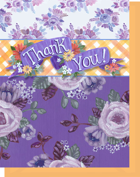 Thank You - Blank Inside - Purple & Orange Flowers