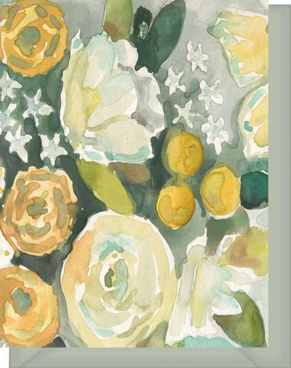 Watercolor White & Yellow Roses with Green - Blank Notecard