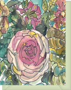 Watercolor Pink & Yellow Roses with Turquoise Green - Blank Notecard