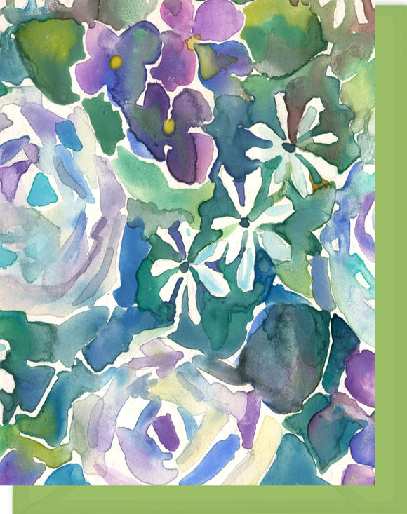 Watercolor Roses & Violets in Purple, Green & Turqoise - Blank Notecard