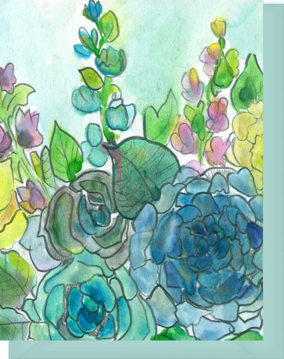 Watercolor Roses & Hollyhocks - Blank Notecard