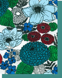 Red, Blue & Turquoise Floral Design - Blank Notecard