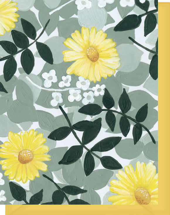 Black, Gray & Yellow Daisy Floral Design - Blank Notecard